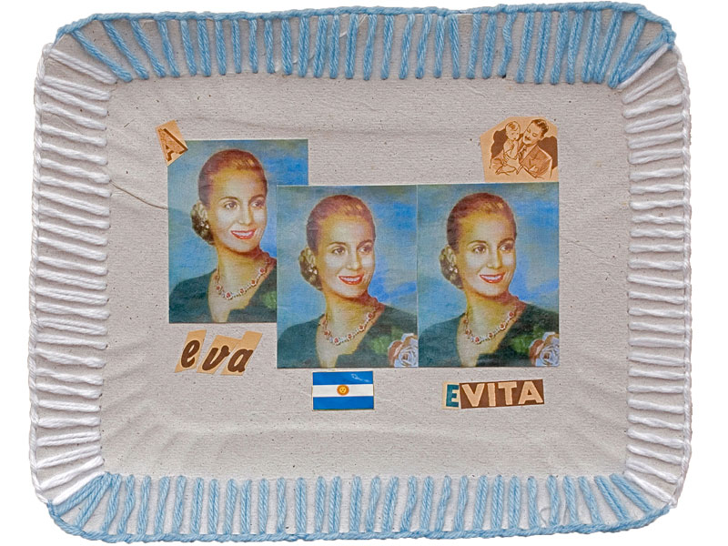 Eva-Evita, papel collage y bordado sobre bandeja de cartón, 2010