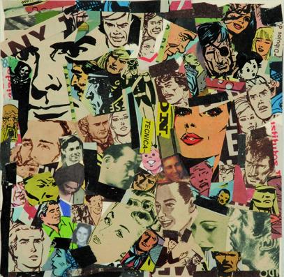 La vida siempre sonríe, serie, Técnica, papel collage, 13,5 x 13,5 cm. 2008