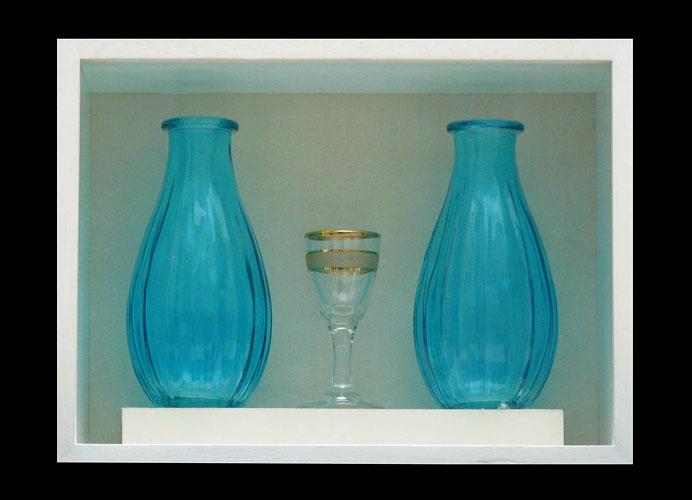 Tres deseos, serie, objetos ensamblados, 21 x 27 x 8,5 cm,  2011.