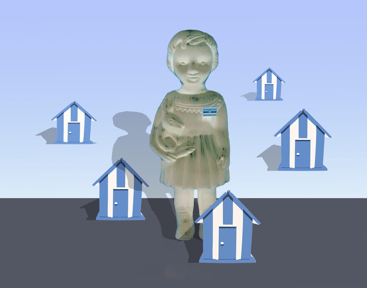 Niña Argentina soñando casas. Impresión y acrílico s.tela 100x130cm 2015