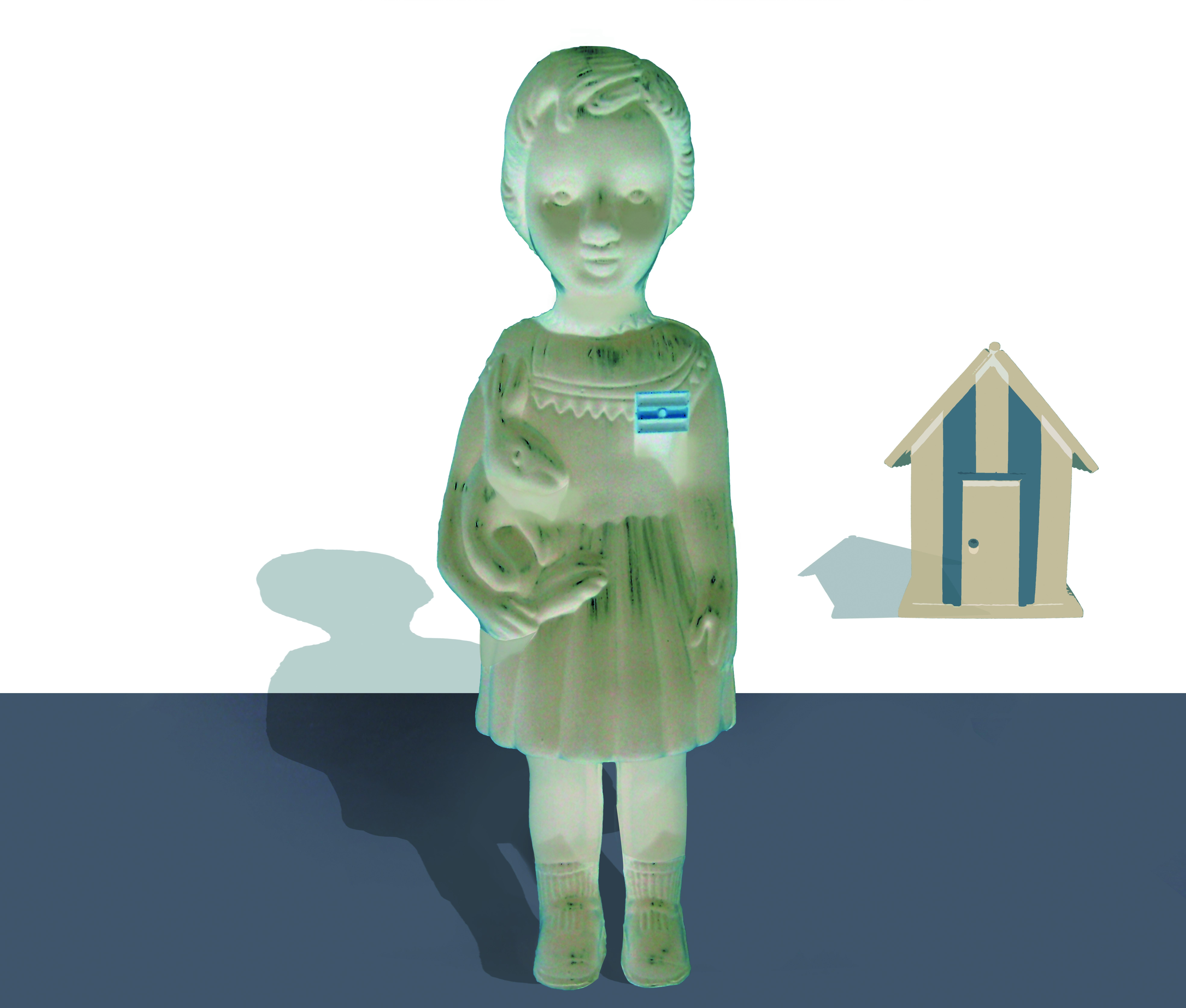 Niña Argentina con casa. Aguafuerte e impresión digital. 85x100cm 2015