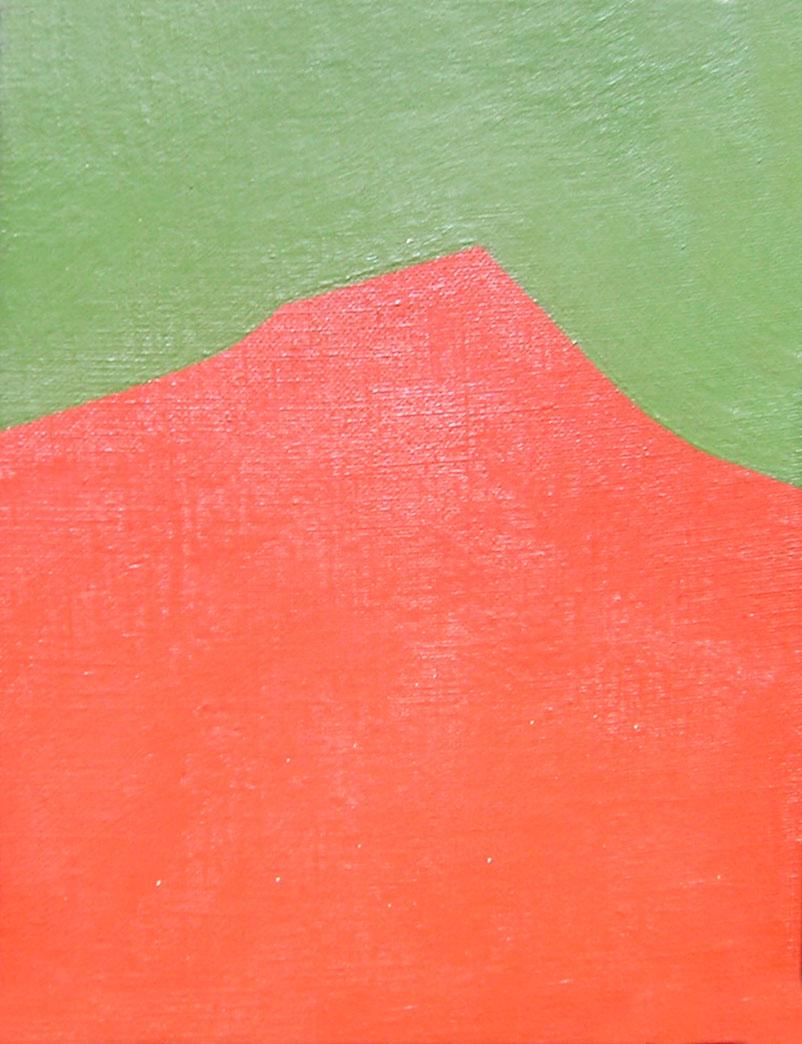Serie Paisajes sin tiempo Montañas, acrílico sobre tela,18 cm x 24 cm,1974