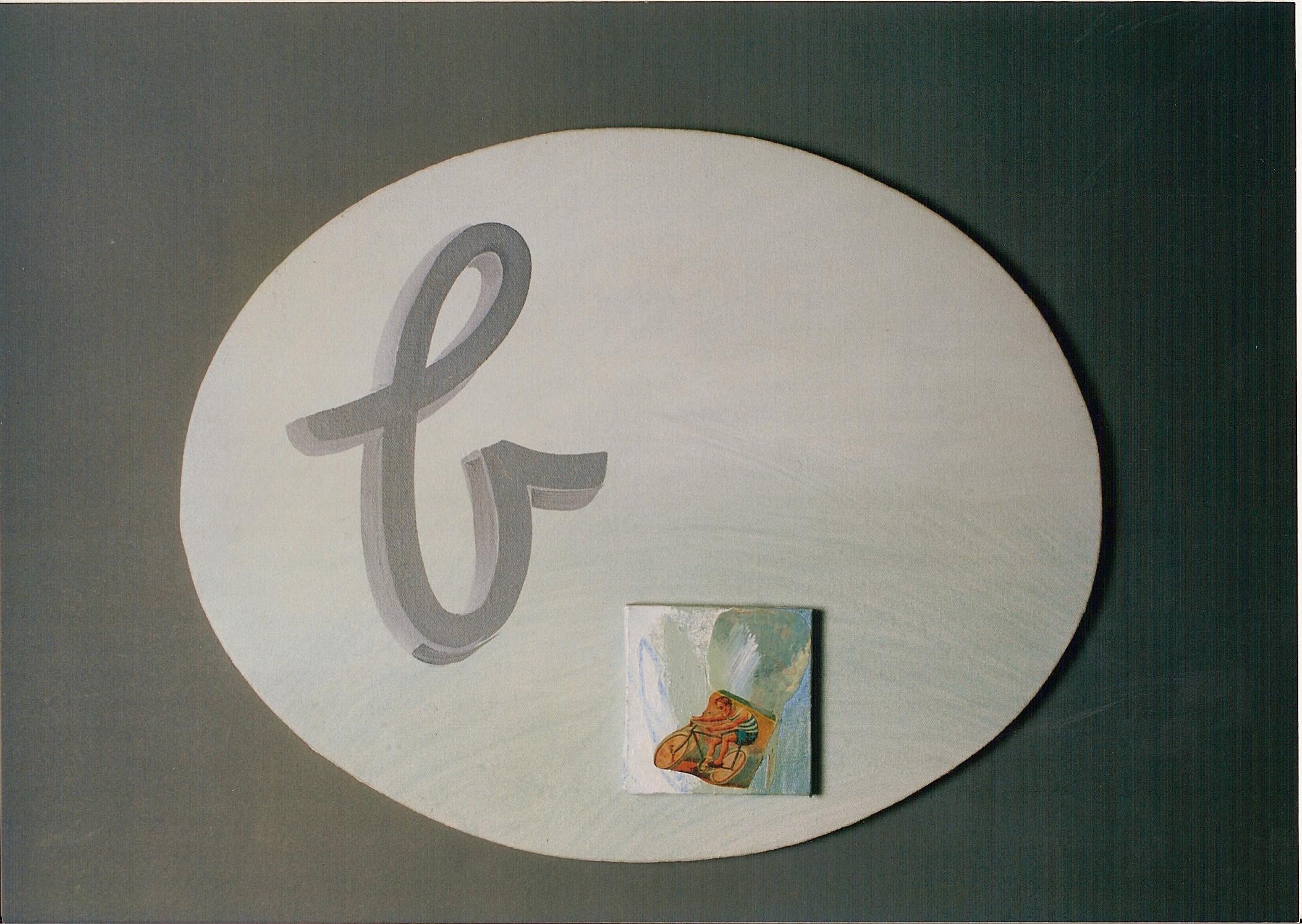 Abecedario B Bicicleta; objetos ensamblados, tela, papel sobre bastidor, 30 cm x 40 cm, 2007