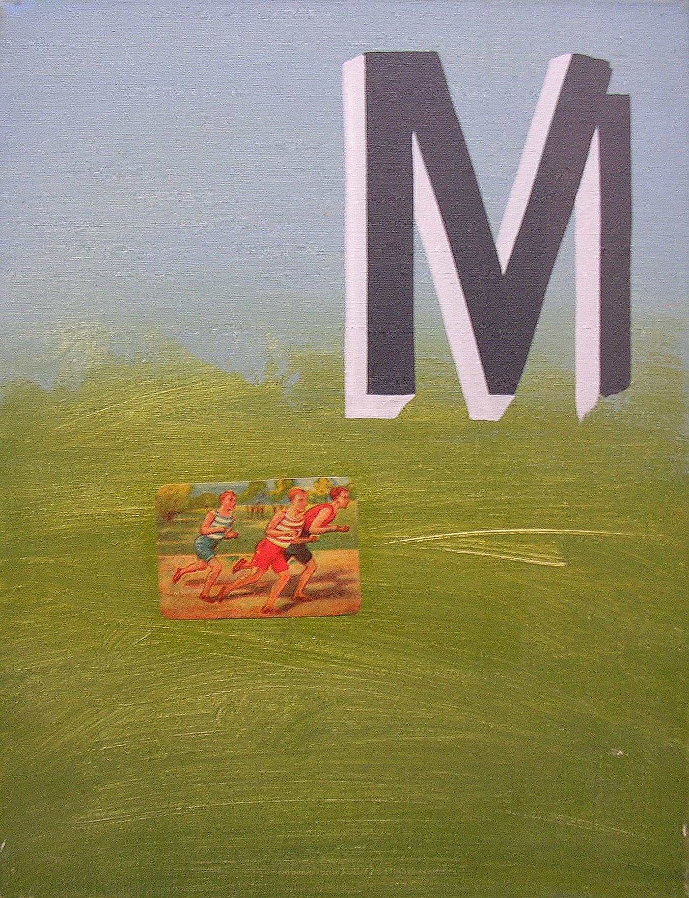 Abecedario M Maratón ; objetos ensamblados, tela, papel sobre bastidor, 30 cm x 40 cm, 2007