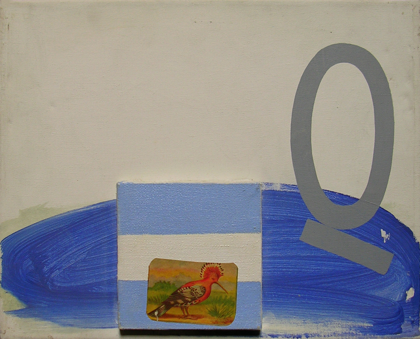 Abecedario Q ; objetos ensamblados, tela, papel sobre bastidor, 30 cm x 40 cm, 2007