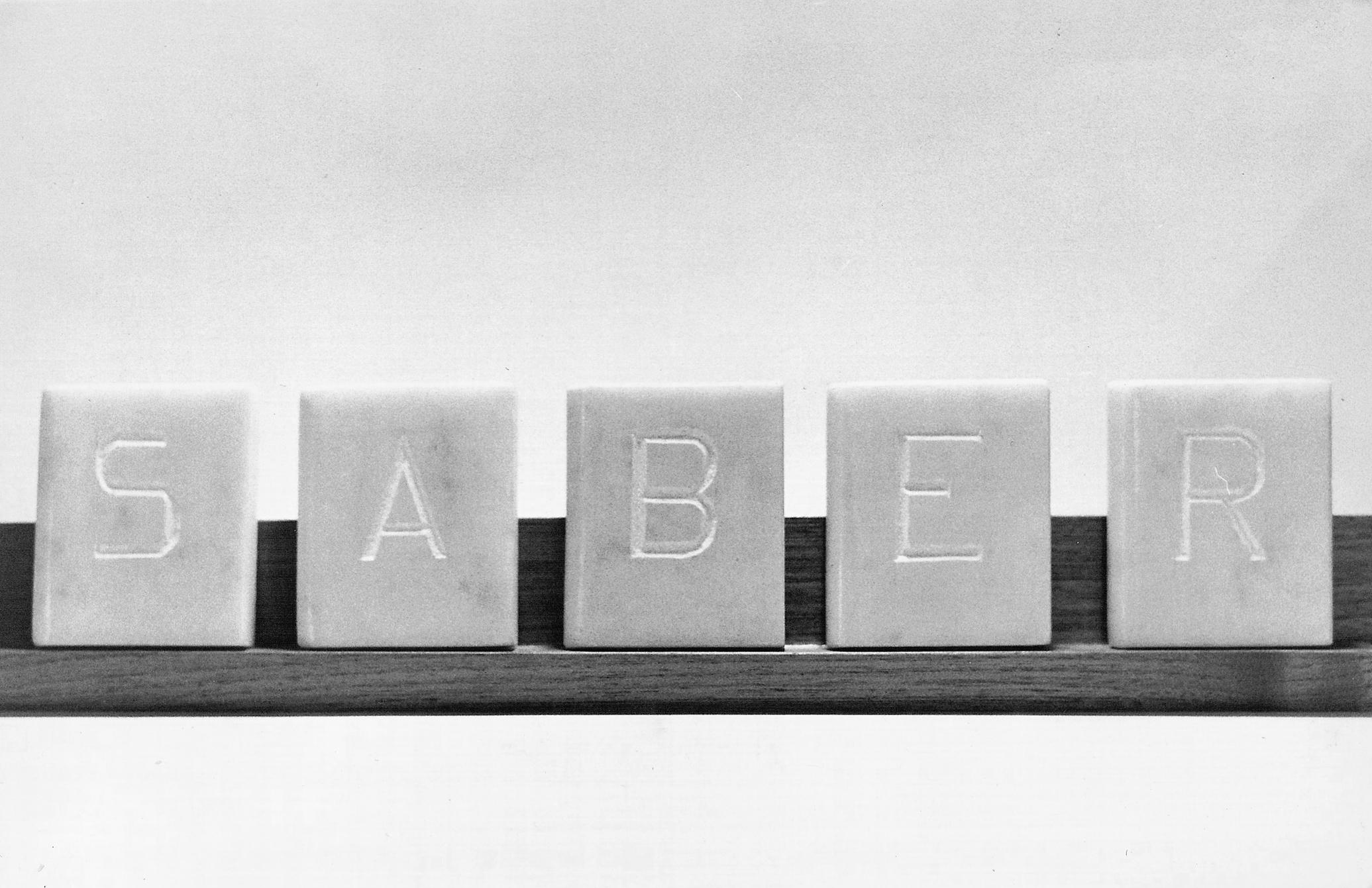 Abecedario, SABER, libros en mármol de Carrara 6 cm x 5 cm x 2cm, 1984