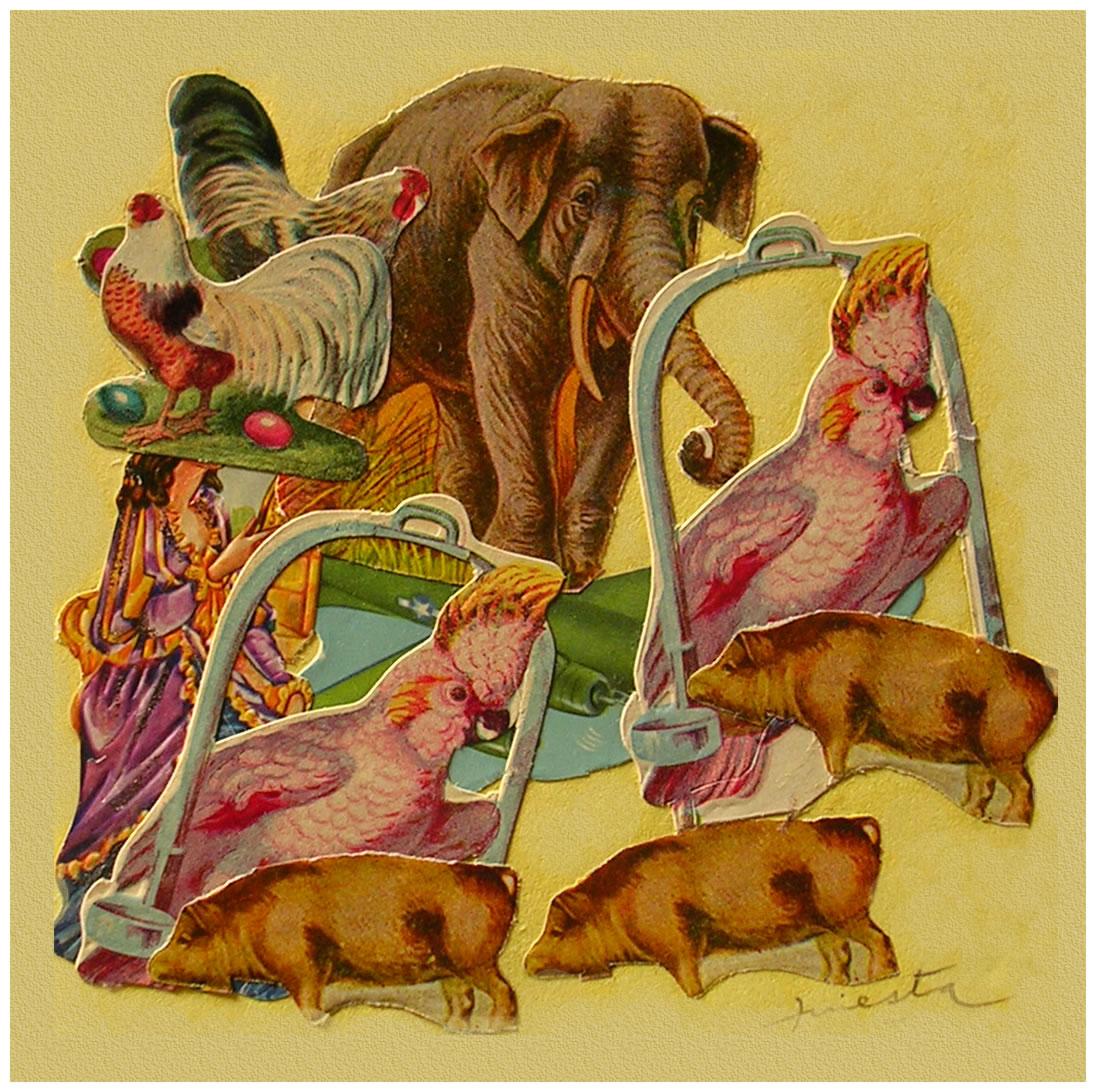 Animales,  papel collage, 15 cm x 15 cm, 1999