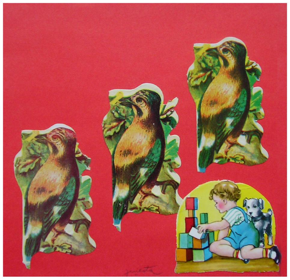 Bebé I,  papel collage, 15 cm x 15 cm, 1999