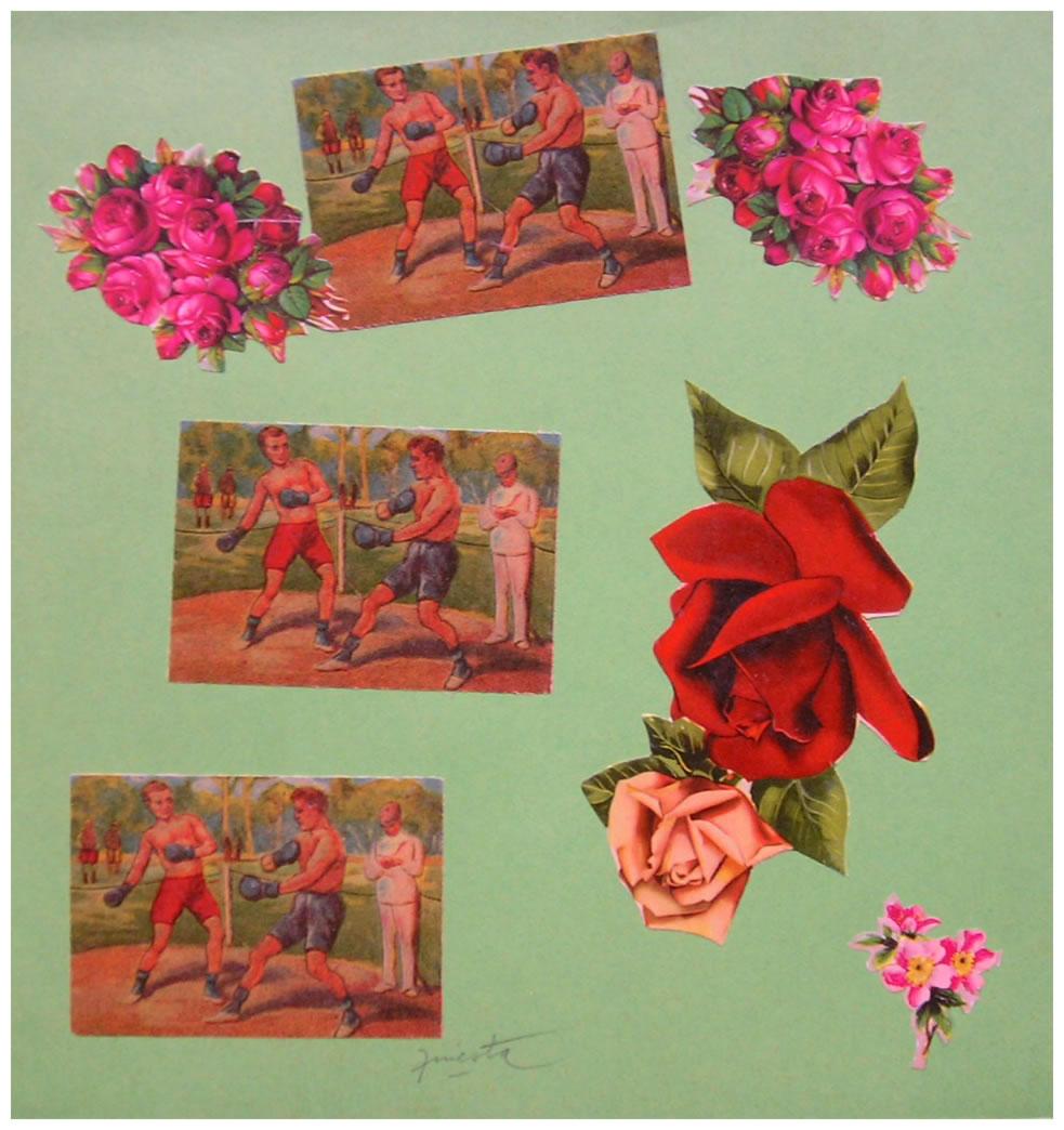 Boxeo,  papel collage, 15 cm x 15 cm, 1999