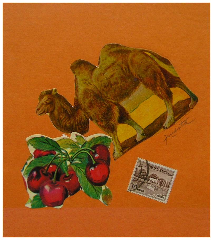 Camello,  papel collage, 15 cm x 15 cm, 1999