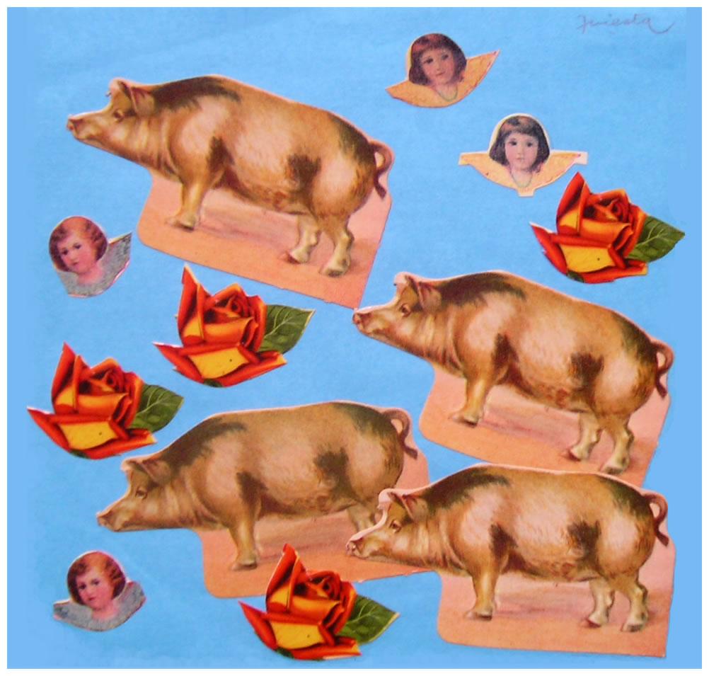 Cerdos,  papel collage, 15 cm x 15 cm, 1999