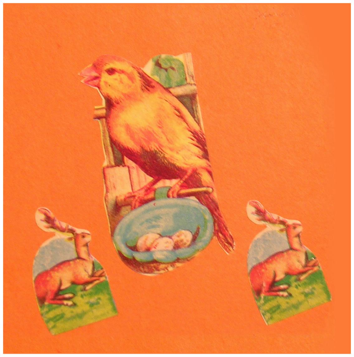 Ciervos,  papel collage, 15 cm x 15 cm, 1999
