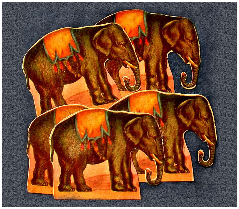 Elefantes,  papel collage, 15 cm x 15 cm, 1999