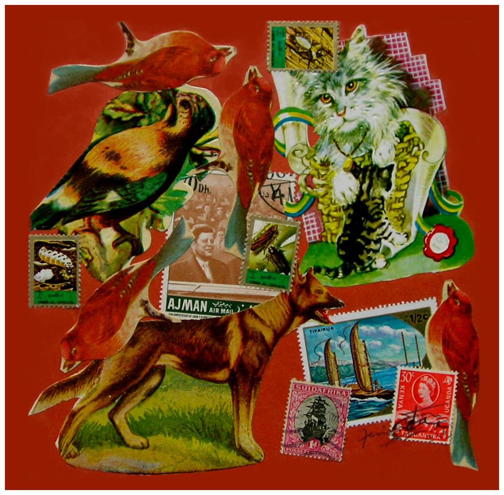 J. F. Kennedy,  papel collage, 15 cm x 15 cm, 1999