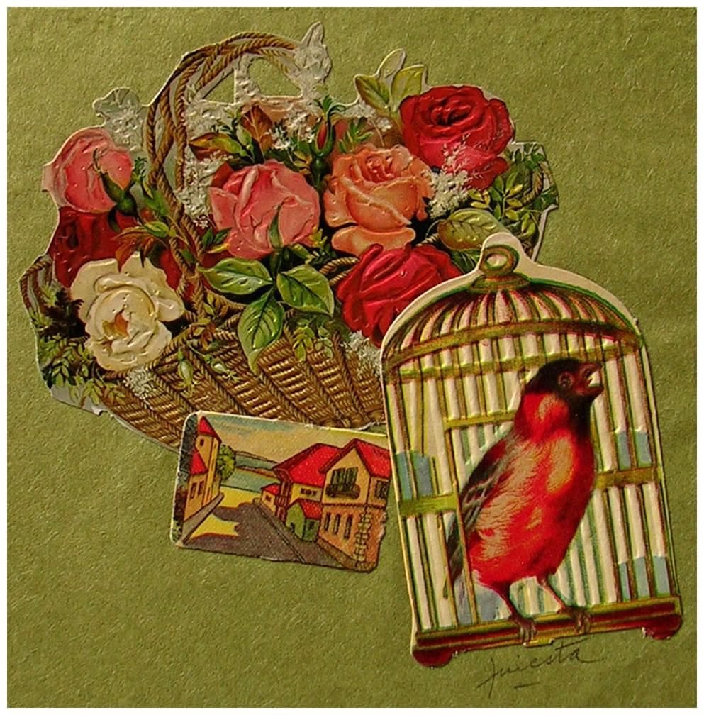 Jaula,  papel collage, 15 cm x 15 cm, 1999