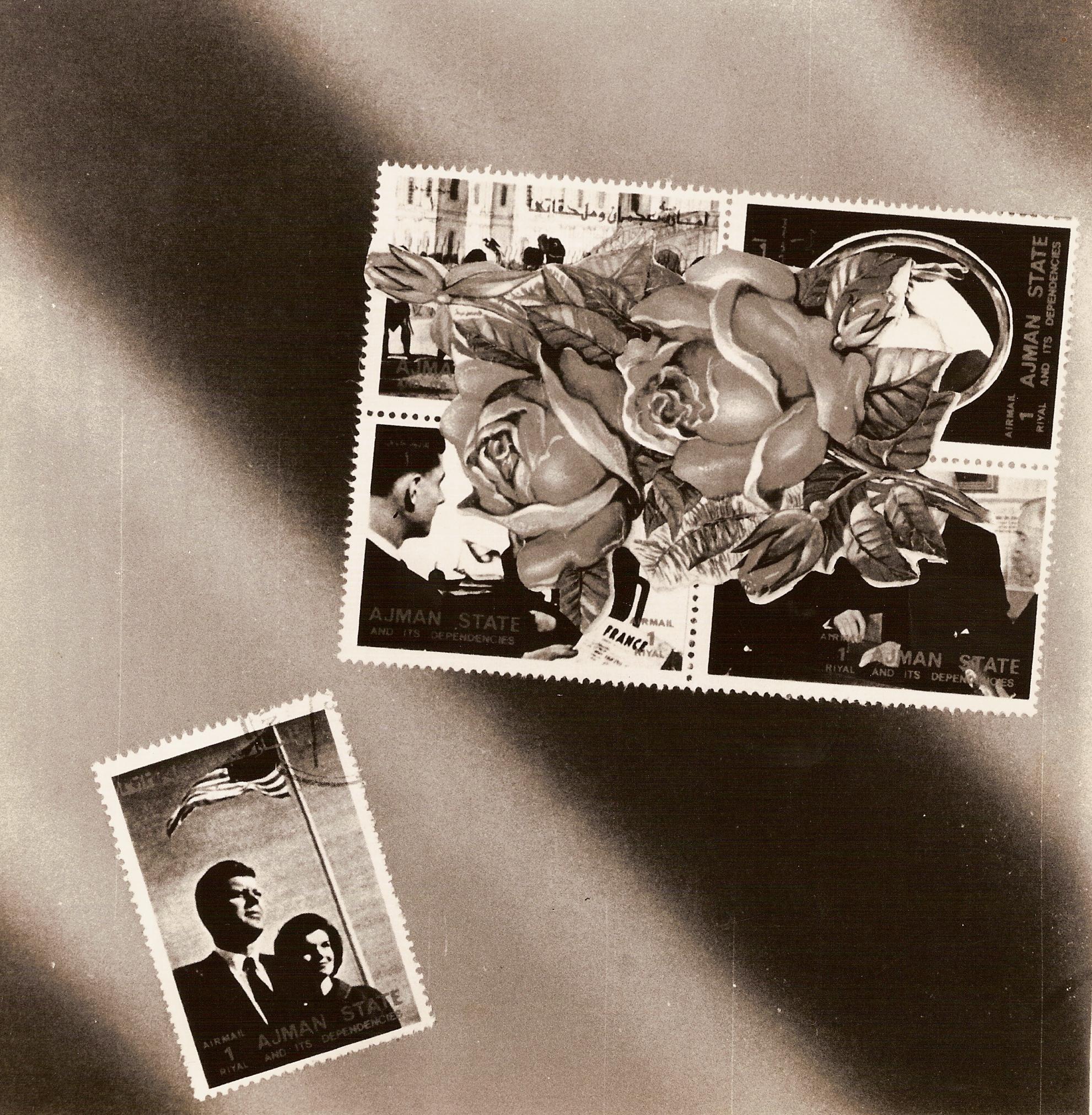 La era Kennedy,  papel collage, 15 cm x 15 cm, 1999