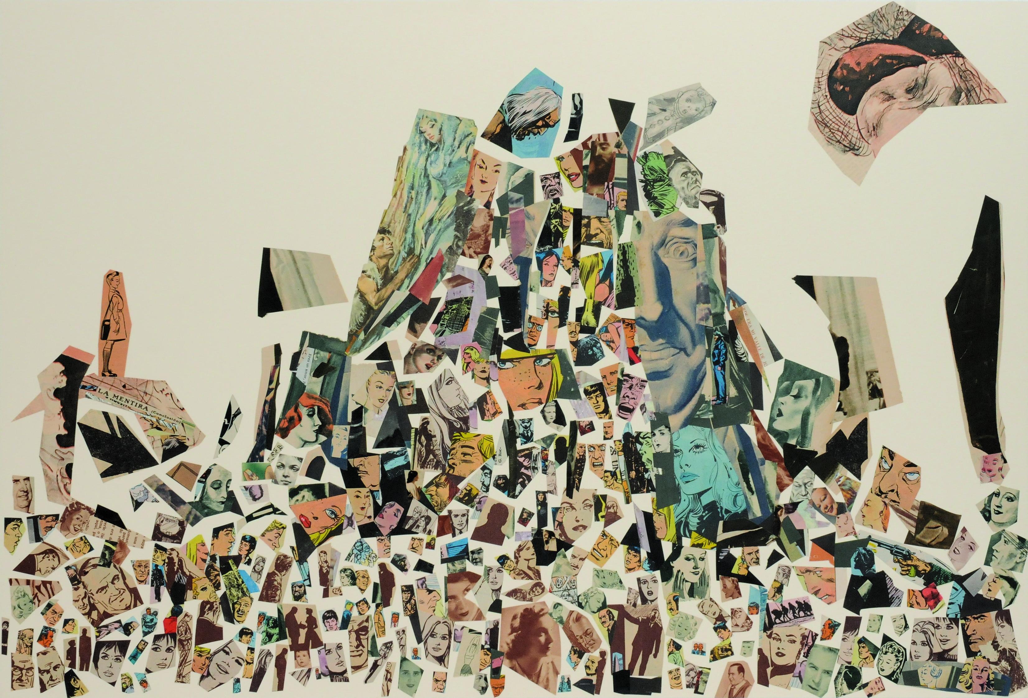 La mentira (conclusión), papel collage, 51 cm x 76 cm. 2008