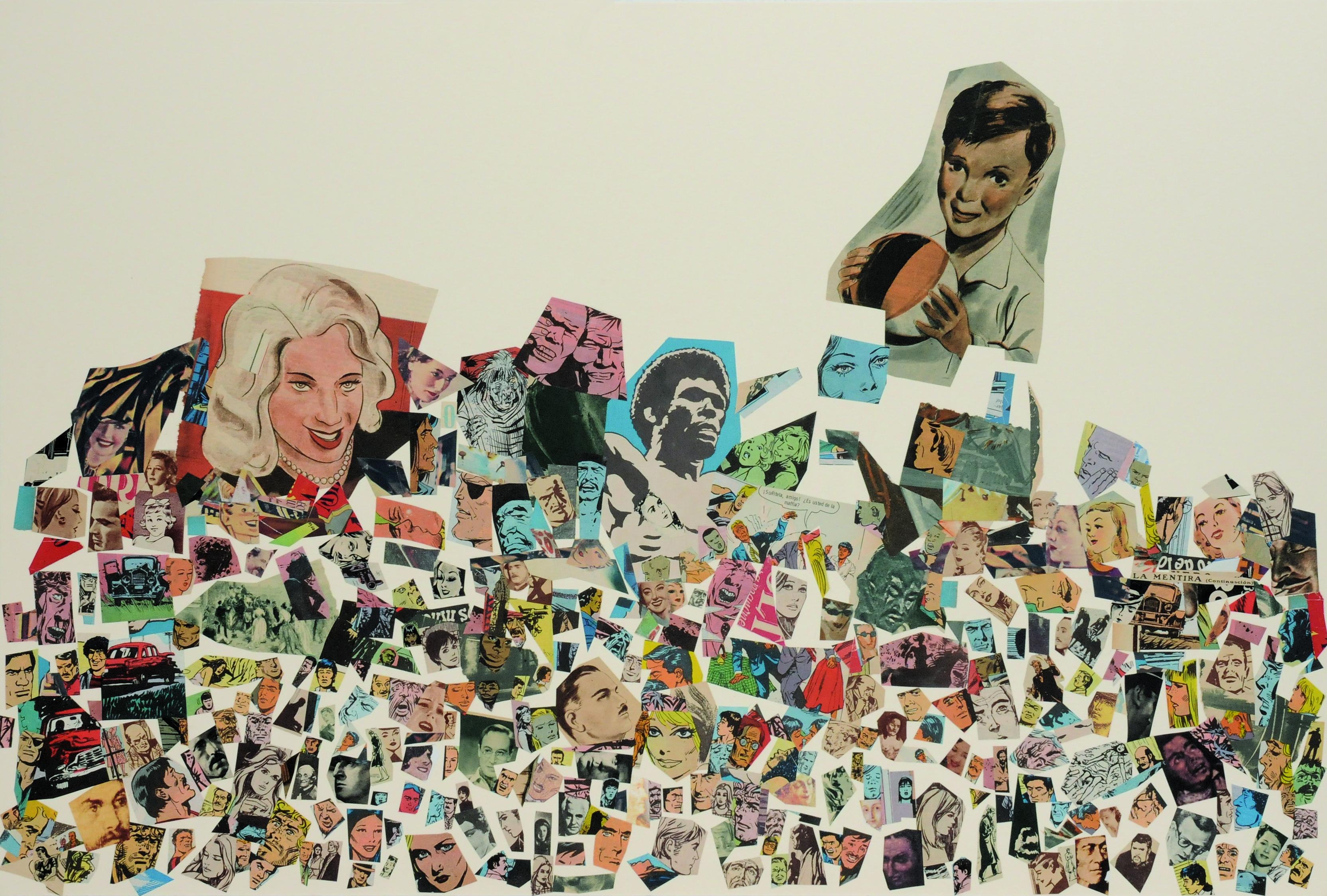 La mentira (continuación), papel collage, 51 cm x 76 cm. 2008