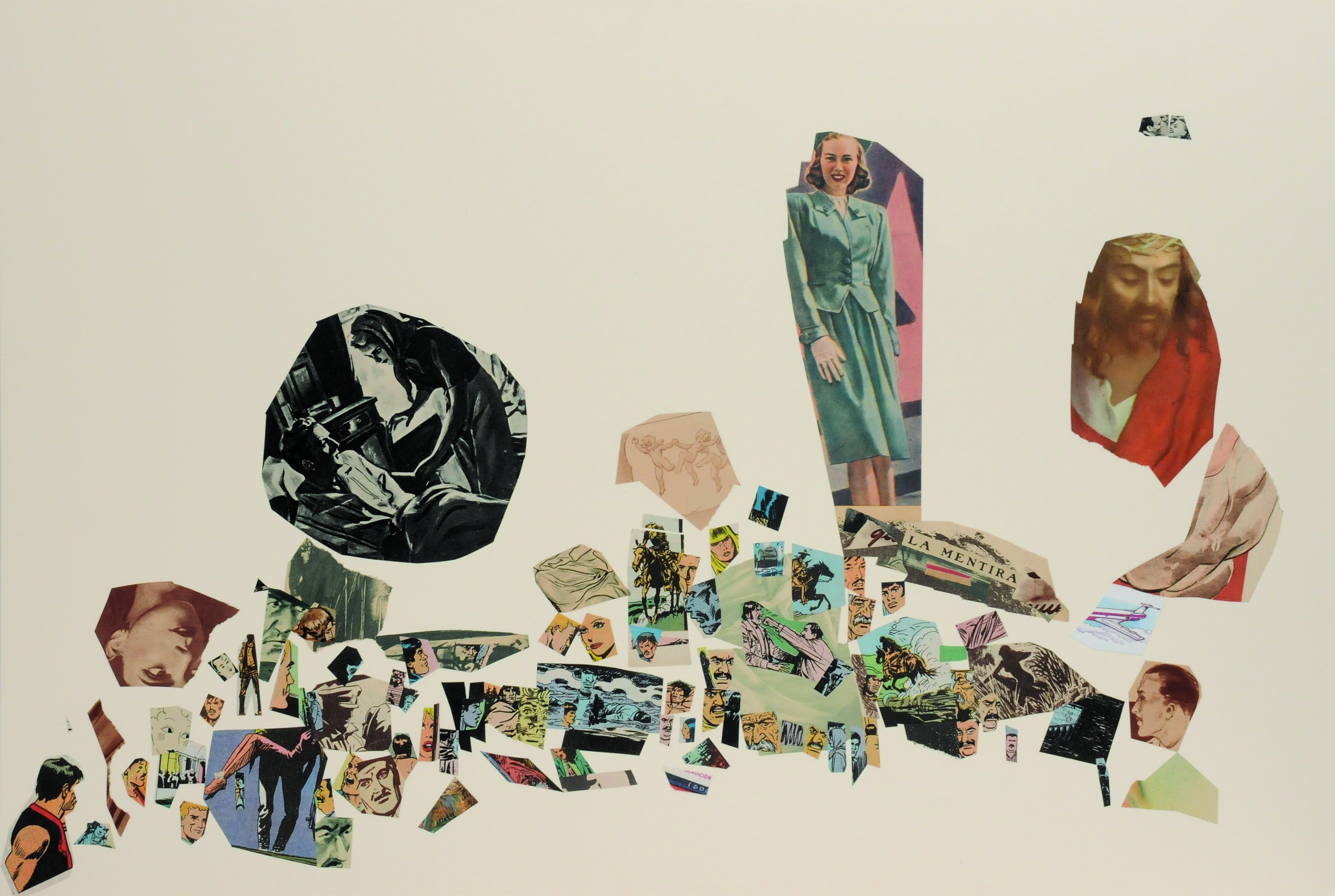 La mentira, papel collage, 51 cm x 76 cm. 2008