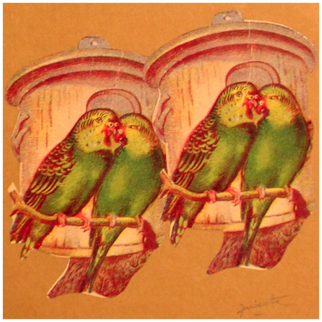 Loros,  papel collage, 15 cm x 15 cm, 1999