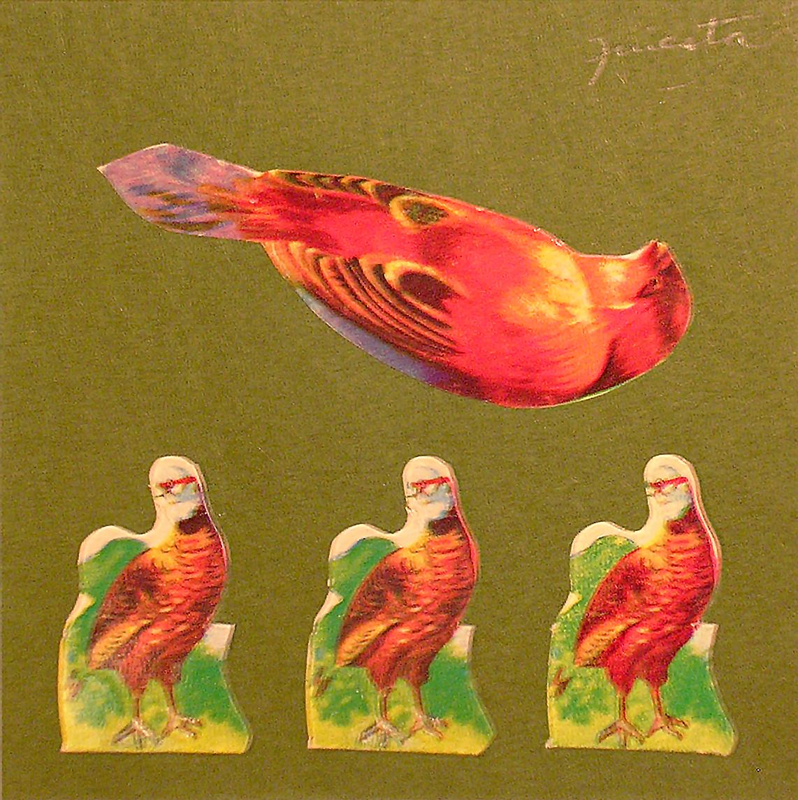 Pájaro,  papel collage, 15 cm x 15 cm, 1999