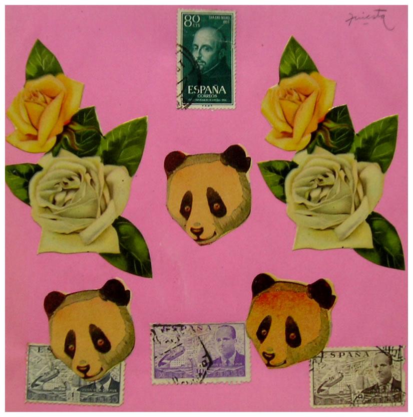 Pandas,  papel collage, 15 cm x 15 cm, 1999