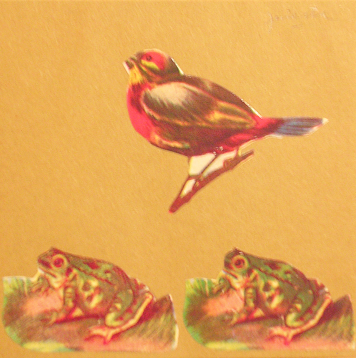 Sapos,  papel collage, 15 cm x 15 cm, 1999