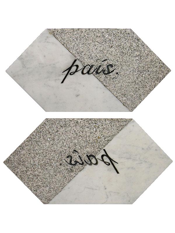 País, escultura en mármol de Carrara y granito Gris Mara, 21 cm x 42 cm x 3.5 cm, derecho y revés, 2001