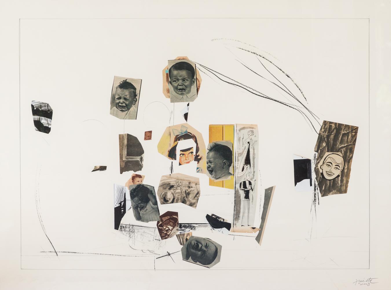 La vida siempre sonríe, lápiz y papel collage, 51 cm x 102 cm, 2008