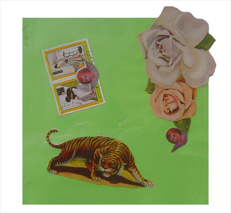 Tigre I,  papel collage, 15 cm x 15 cm, 1999