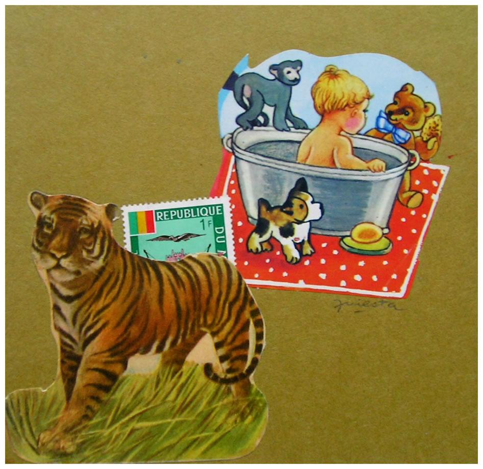 Tigre,  papel collage, 15 cm x 15 cm, 1999