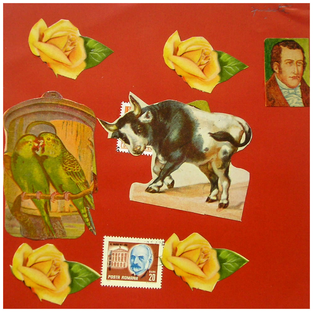 Toro,  papel collage, 15 cm x 15 cm, 1999