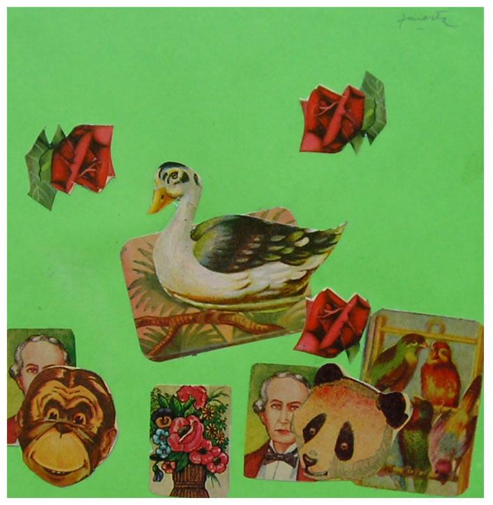 Tres rosas rojas,  papel collage, 15 cm x 15 cm, 1999