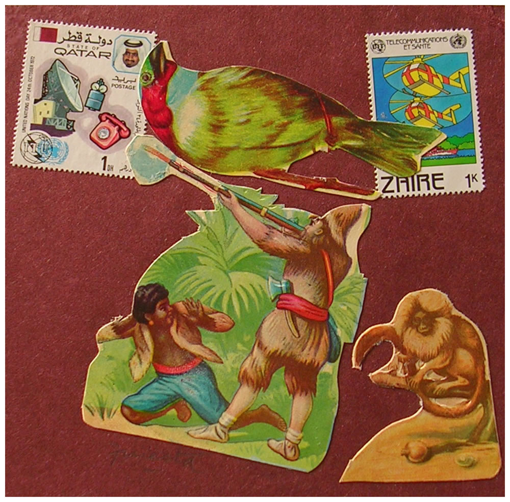 Zaire,  papel collage, 15 cm x 15 cm, 1999