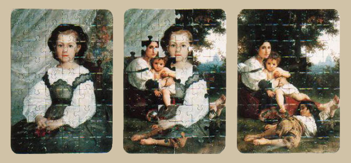 Pasaje, rompecabezas intervenido tríptico, 18 cm x 48 cm, 1992