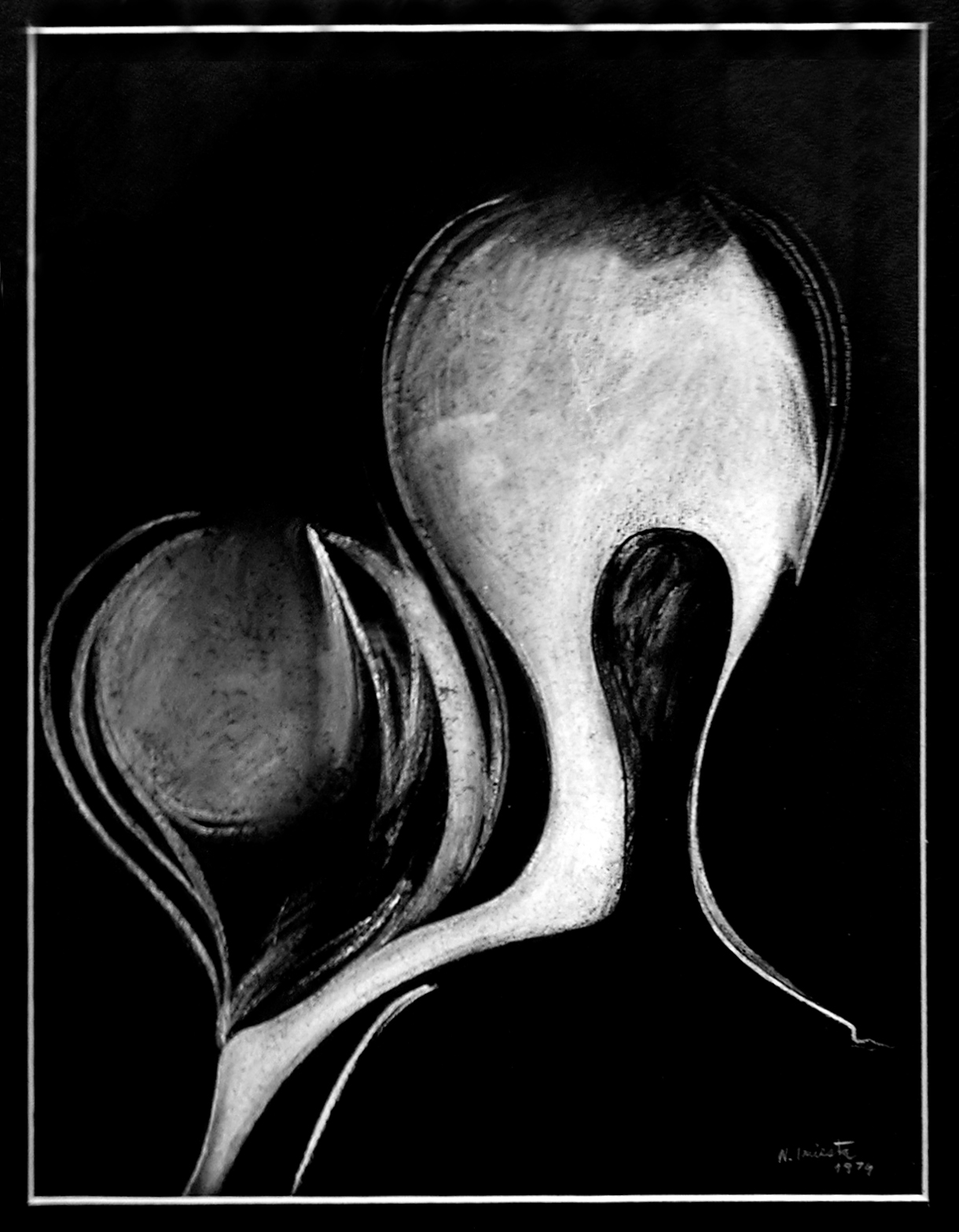 Él y su mundo, dibujo lápiz blanco 29,5 x 22,5 cm 1973