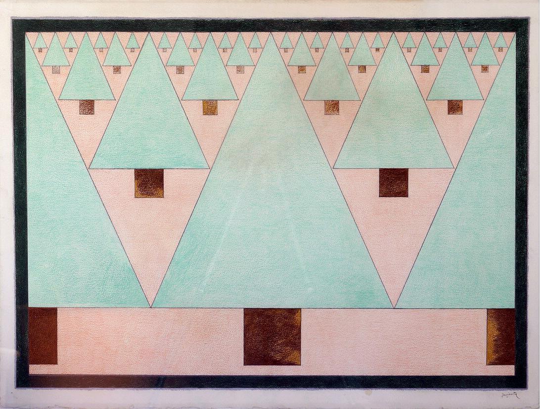 Pinos, lápiz color, 52 cm x 72 cm, 1986