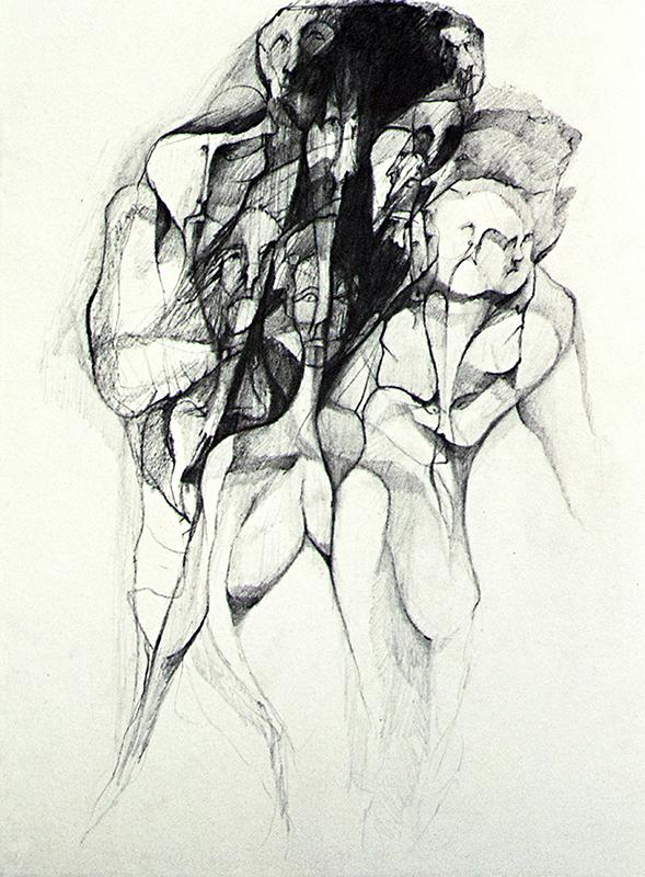 Figura humana, lápiz sobre papel, 1970