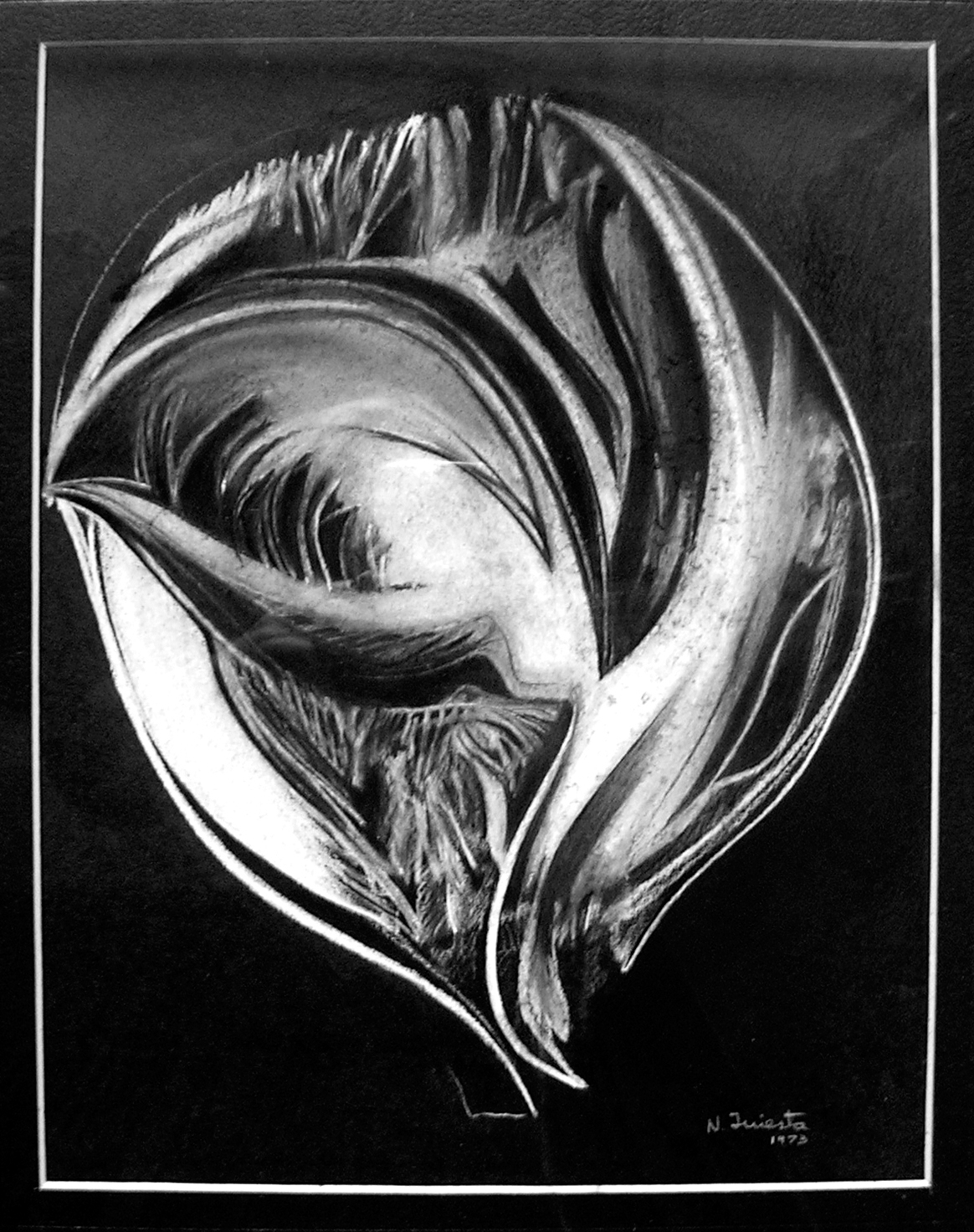 Mundo, dibujo lápiz blanco 29,5x 22,5 cm, 1973