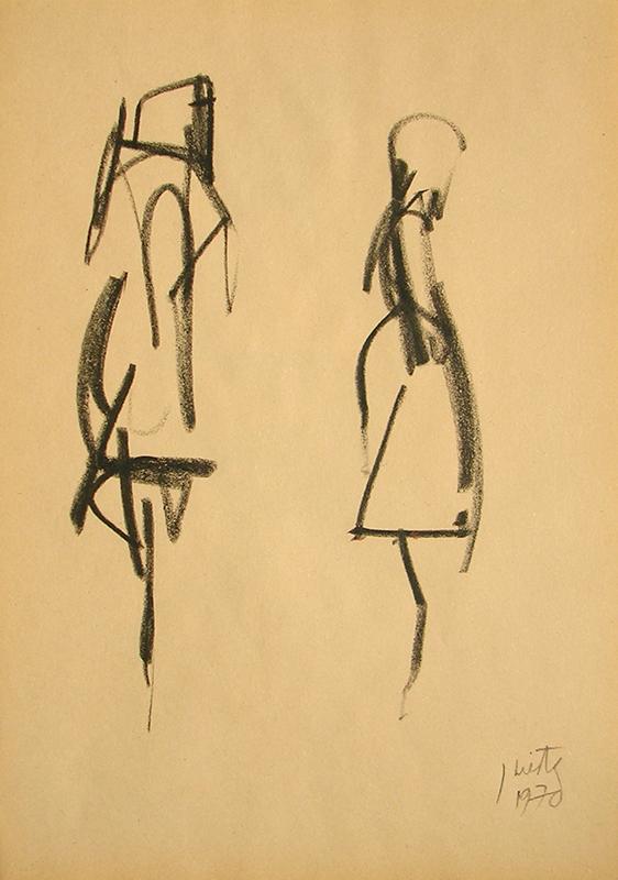Figura humana, carbonilla sobre papel, 30 cm x 20 cm, 1970