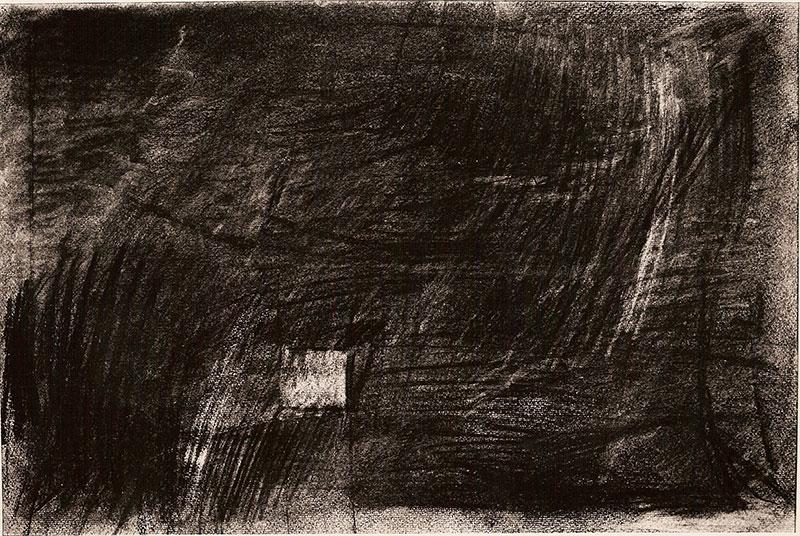 Interior, carbonilla sobre papel, 50 cm x 74 cm, 1984