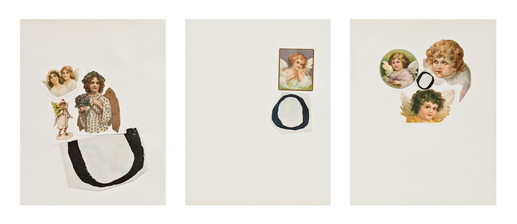 Serie Cuarentena, papel collage, 28 cm x 22 cm cada uno, 2020