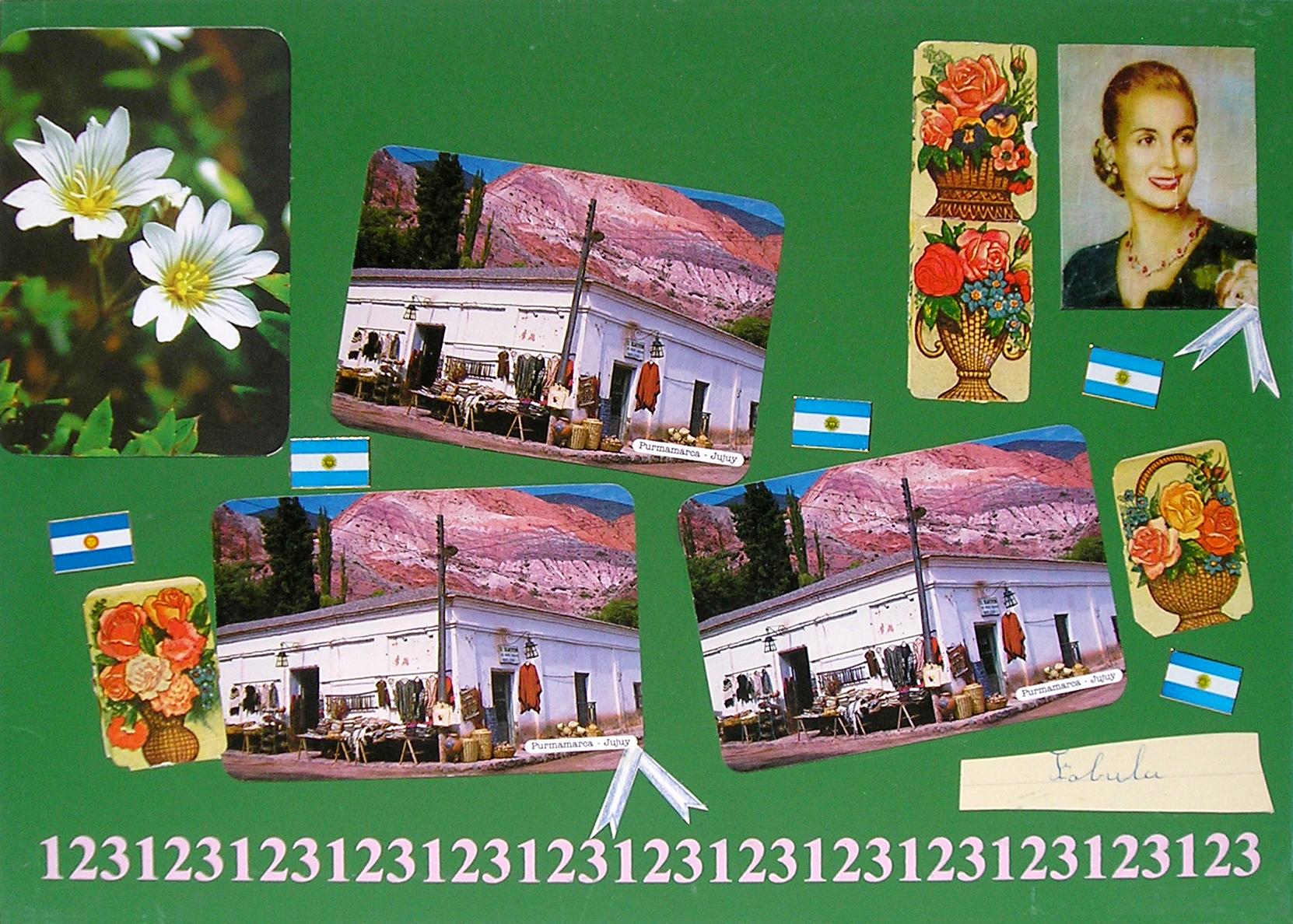 Evita Maestra recorre el país, Purmamarca, Jujuy; serie, técnica mixta sobre pizarrón; 21 x 30 cm, 2007
