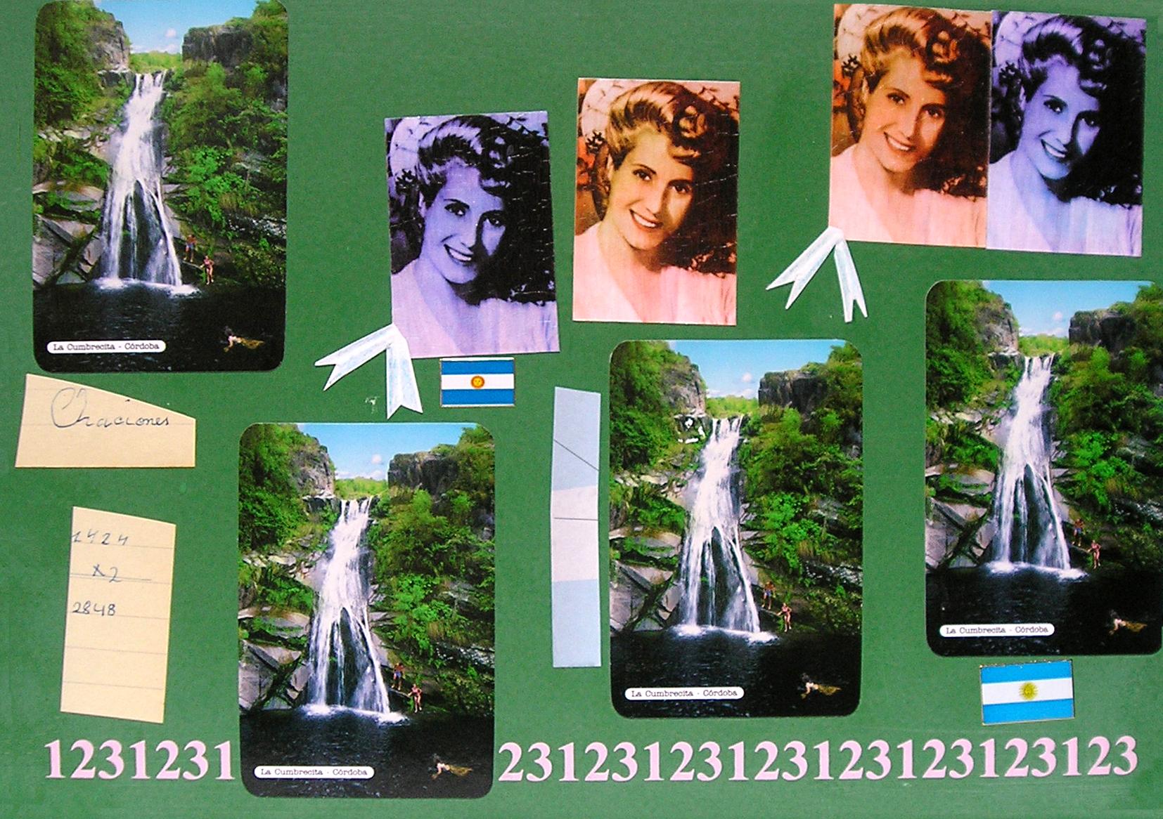 Evita Maestra recorre el país, La Cumbrecita , Córdoba; serie, técnica mixta sobre pizarrón; 21 x 30 cm, 2007