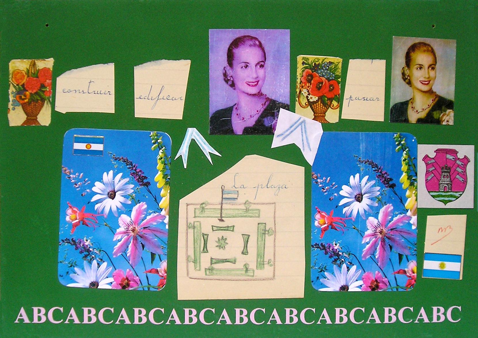 Evita Maestra recorre el país, La Plaza; serie, técnica mixta sobre pizarrón; 21 x 30 cm, 2007