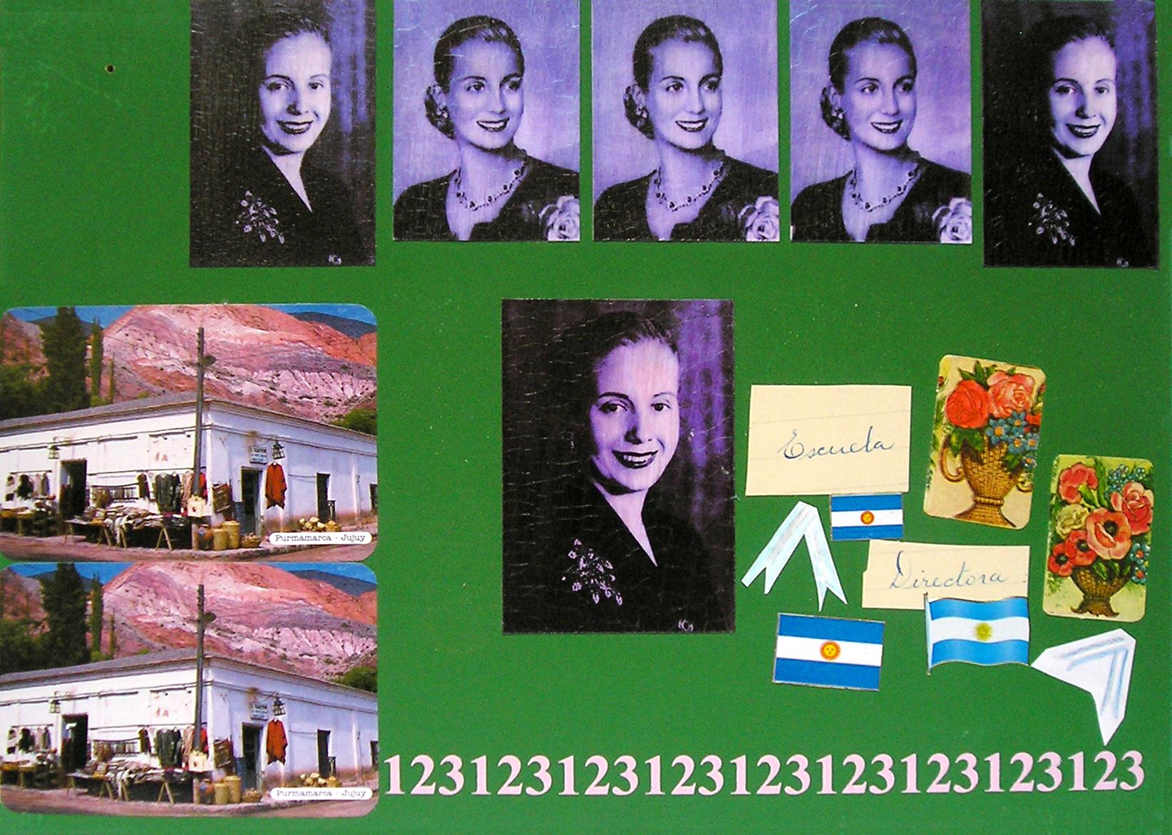 Evita Maestra recorre el país, Jujuy; serie, técnica mixta sobre pizarrón; 21 x 30 cm, 2007