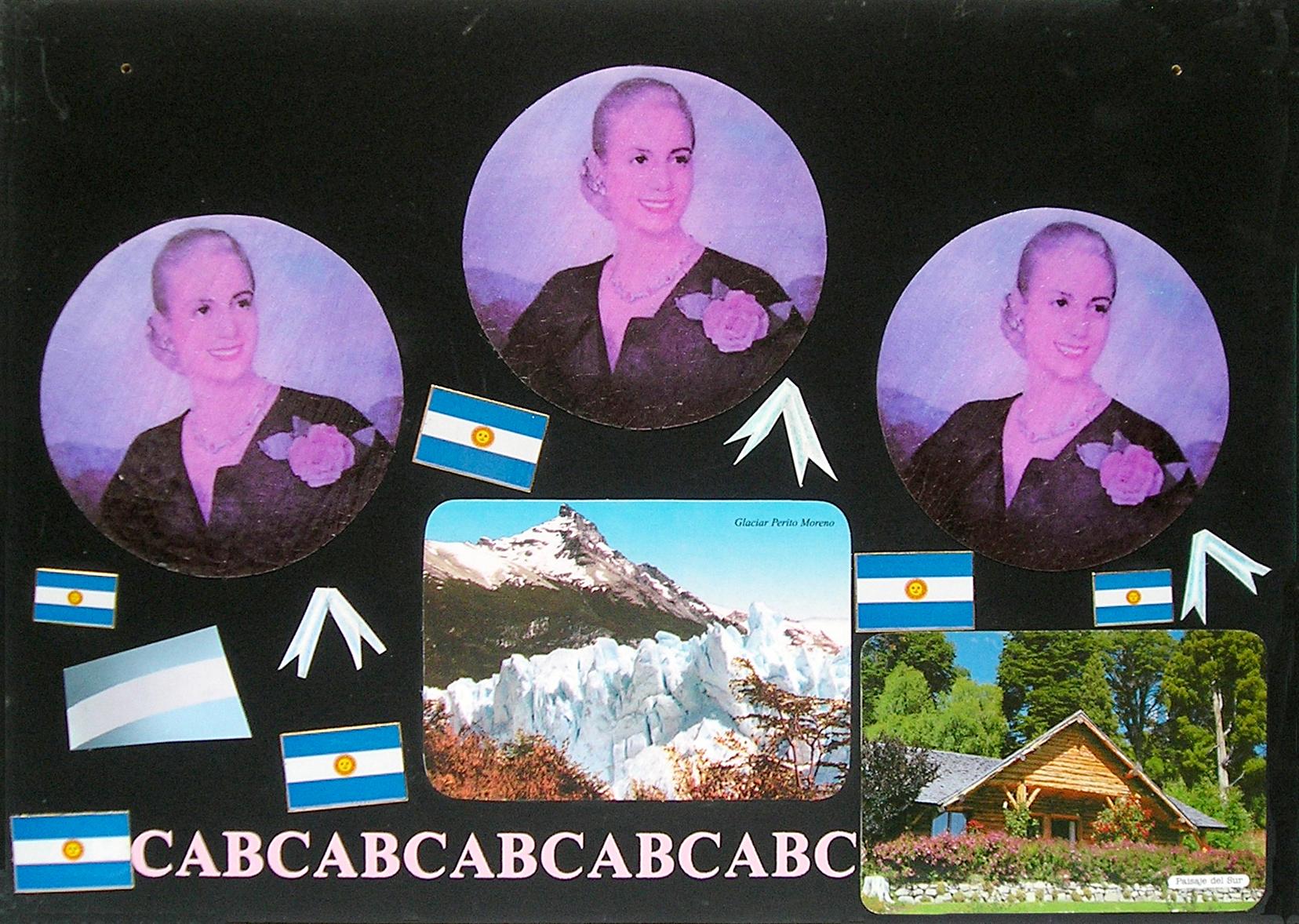 Evita Maestra recorre el país, El Sur ; serie, técnica mixta sobre pizarrón; 21 x 30 cm, 2007
