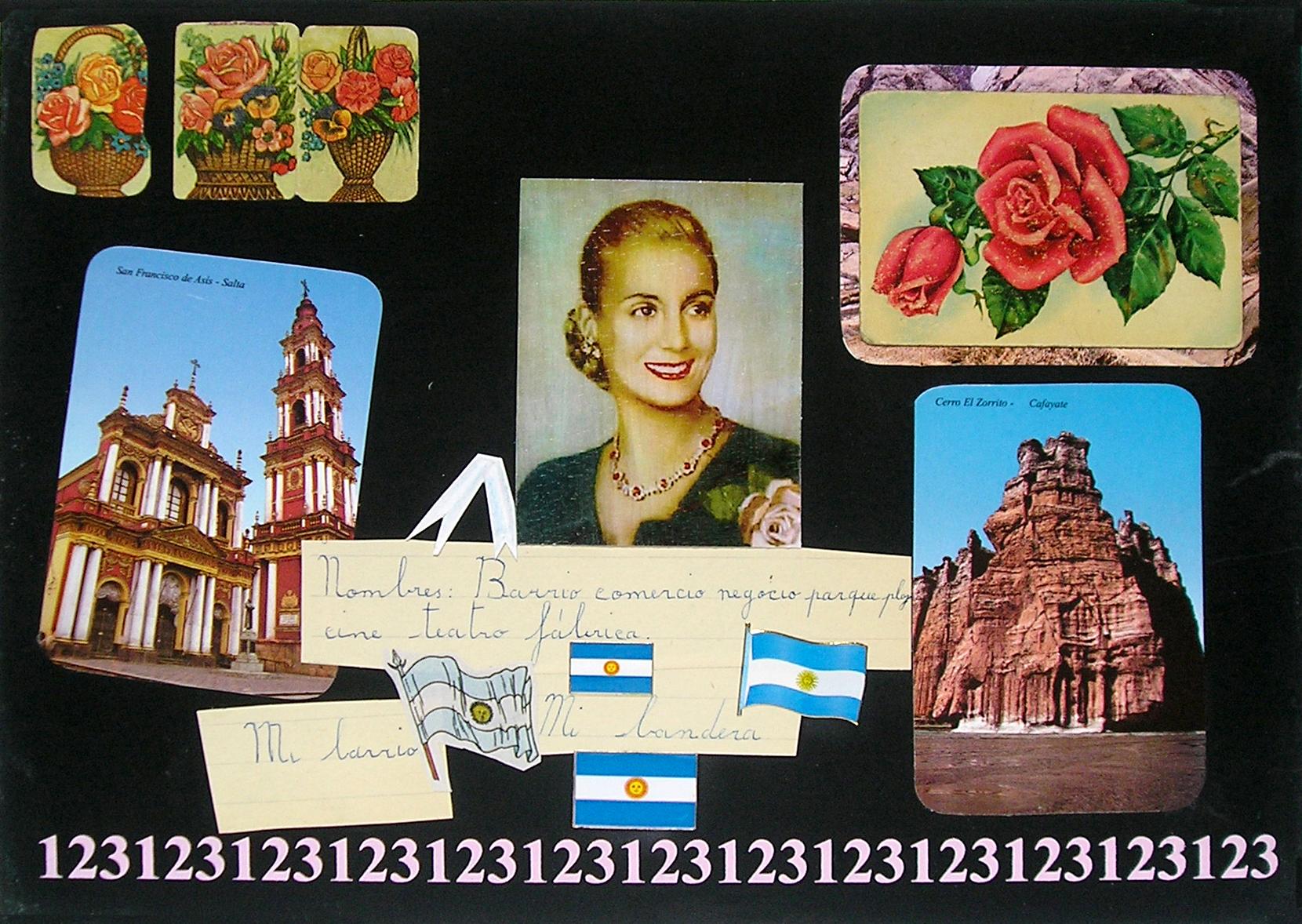 Evita Maestra recorre el país, Salta ; serie, técnica mixta sobre pizarrón; 21 x 30 cm, 2007