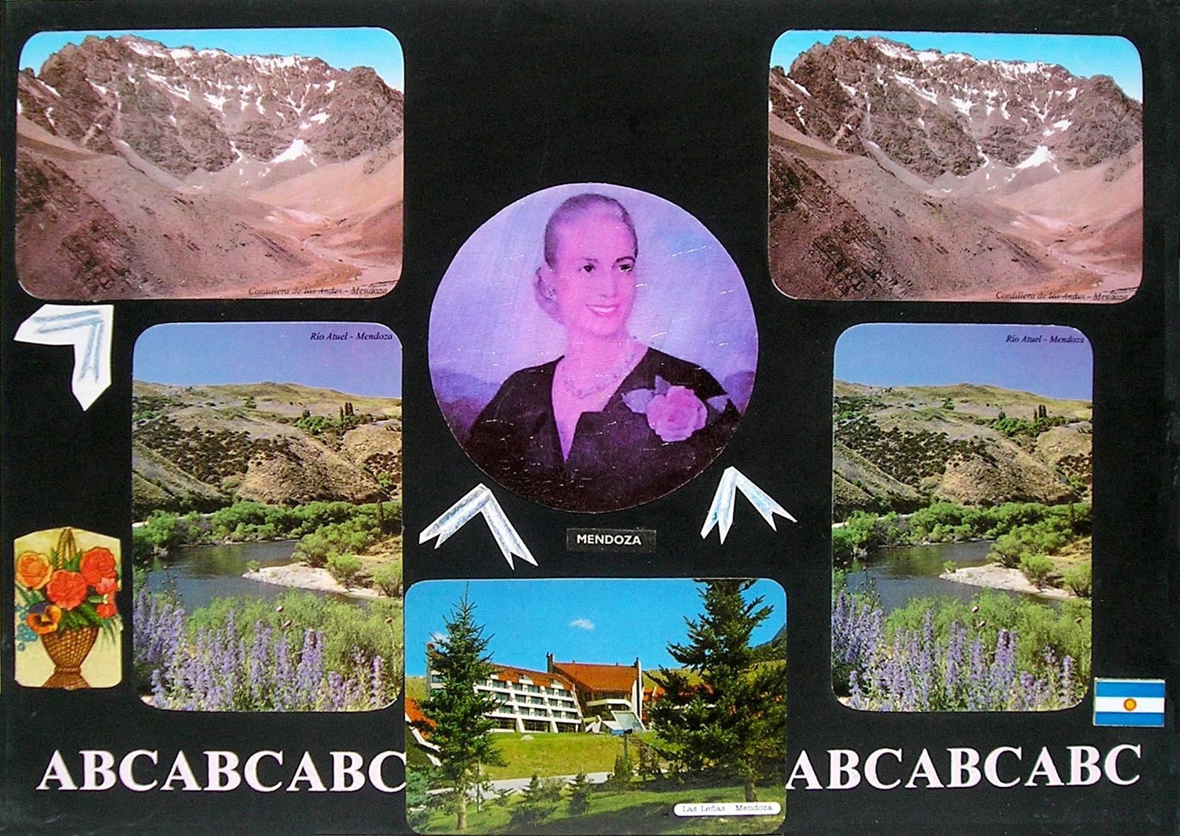 Evita Maestra recorre el país, Mendoza ; serie, técnica mixta sobre pizarrón; 21 x 30 cm, 2007