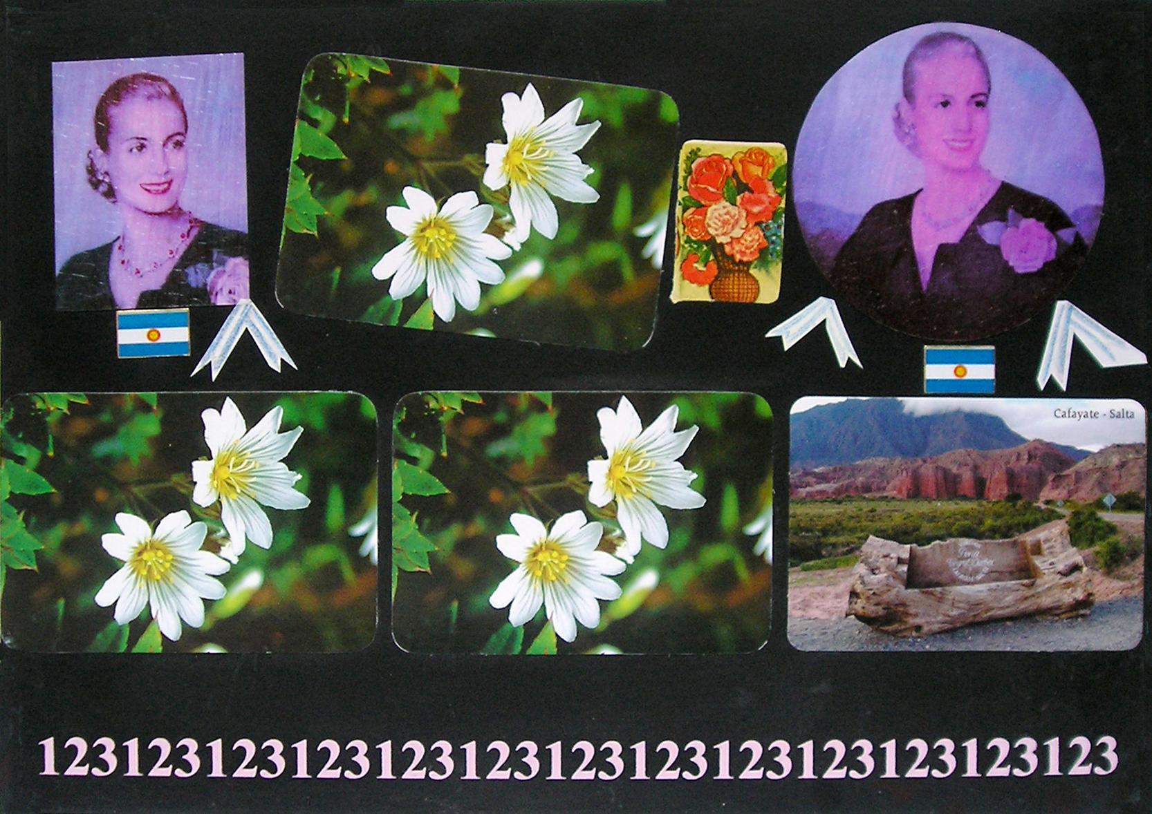 Evita Maestra recorre el país, Cafayate, Salta ; serie, técnica mixta sobre pizarrón; 21 x 30 cm, 2007